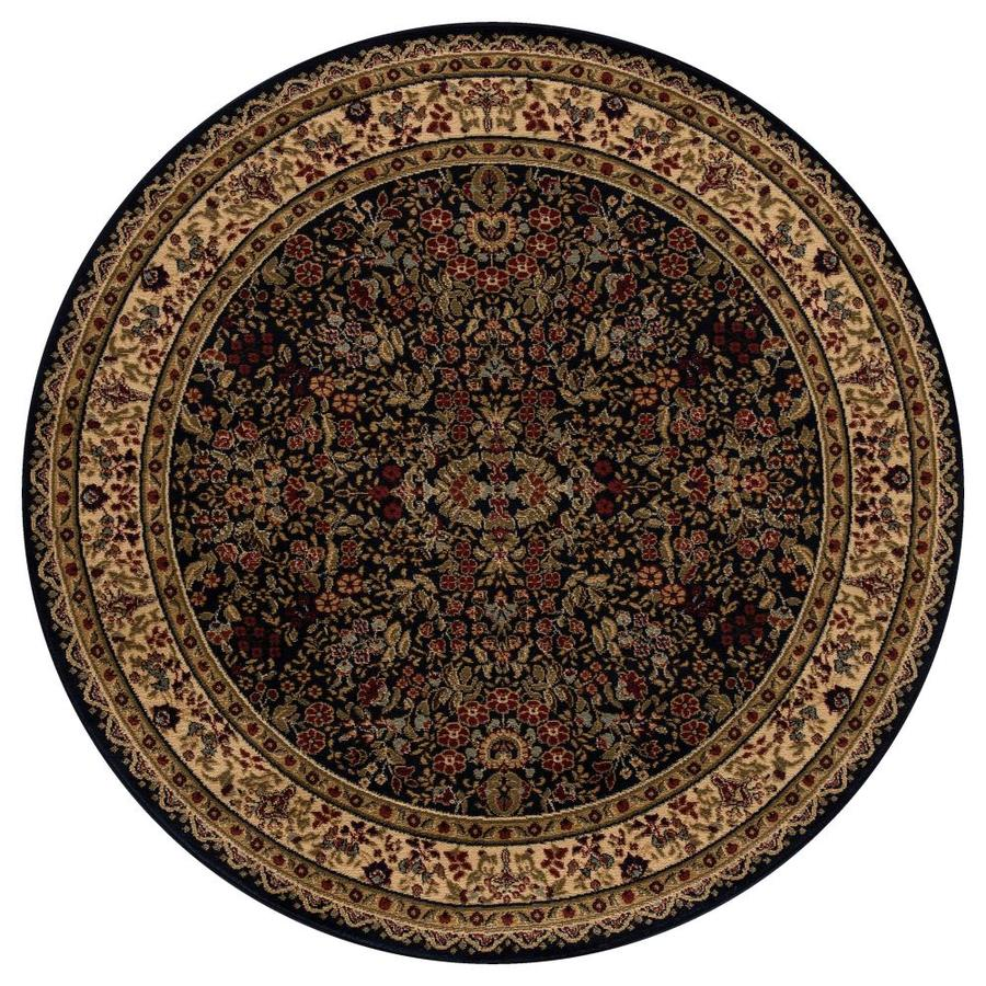 Concord Global Valencia Navy Round Indoor Woven Oriental Area Rug (Common: 5 x 5; Actual: 63-in W x 63-in L x 5.25-ft Dia)