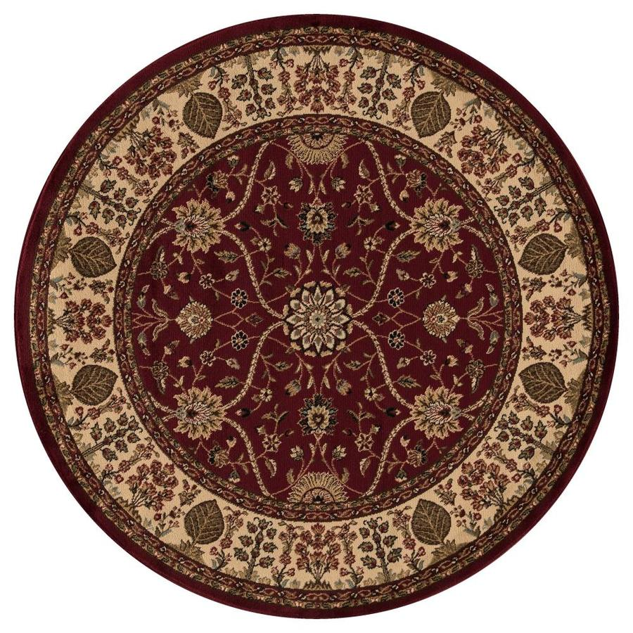Concord Global Valencia Red Round Indoor Woven Oriental Area Rug (Common: 5 x 5; Actual: 63-in W x 63-in L x 5.25-ft Dia)