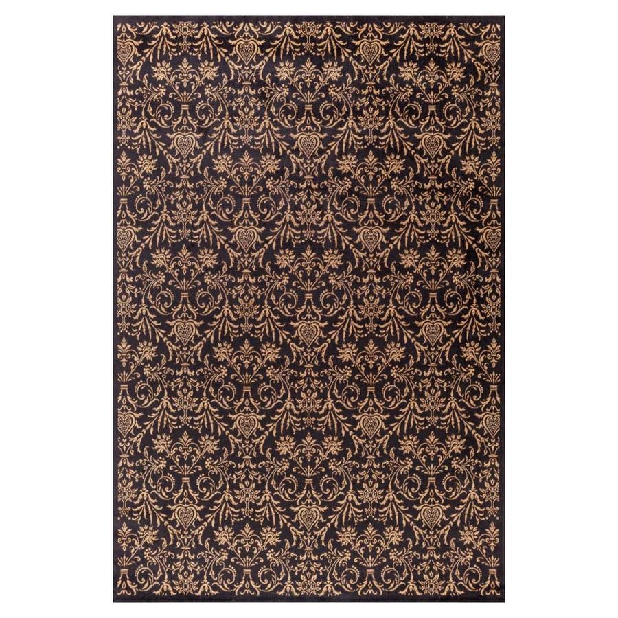 Concord Global Valencia Black Rectangular Indoor Woven Oriental Area Rug (Common: 7 x 9; Actual: 79-in W x 111-in L x 6.58-ft Dia)