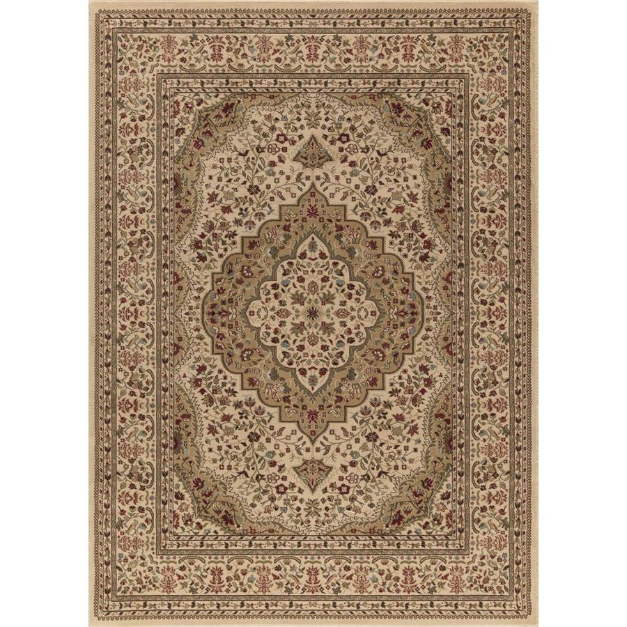 Concord Global Florence Ivory Rectangular Indoor Woven Oriental Area Rug (Common: 8 x 11; Actual: 94-in W x 130-in L x 7.83-ft Dia)