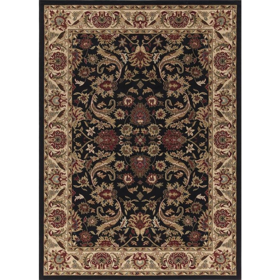Concord Global Florence Black Rectangular Indoor Woven Oriental Area Rug (Common: 4 x 6; Actual: 47-in W x 65-in L x 3.92-ft Dia)