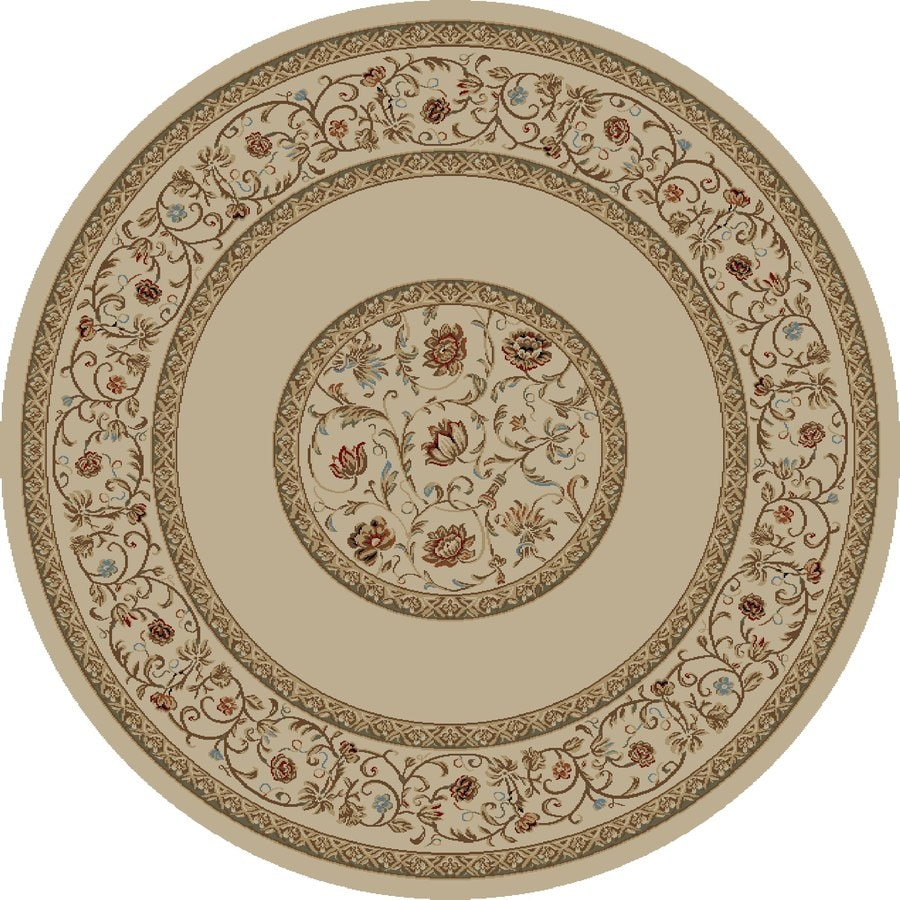 Concord Global Florence Ivory Round Indoor Woven Oriental Area Rug (Common: 5 x 5; Actual: 63-in W x 63-in L x 5.25-ft Dia)