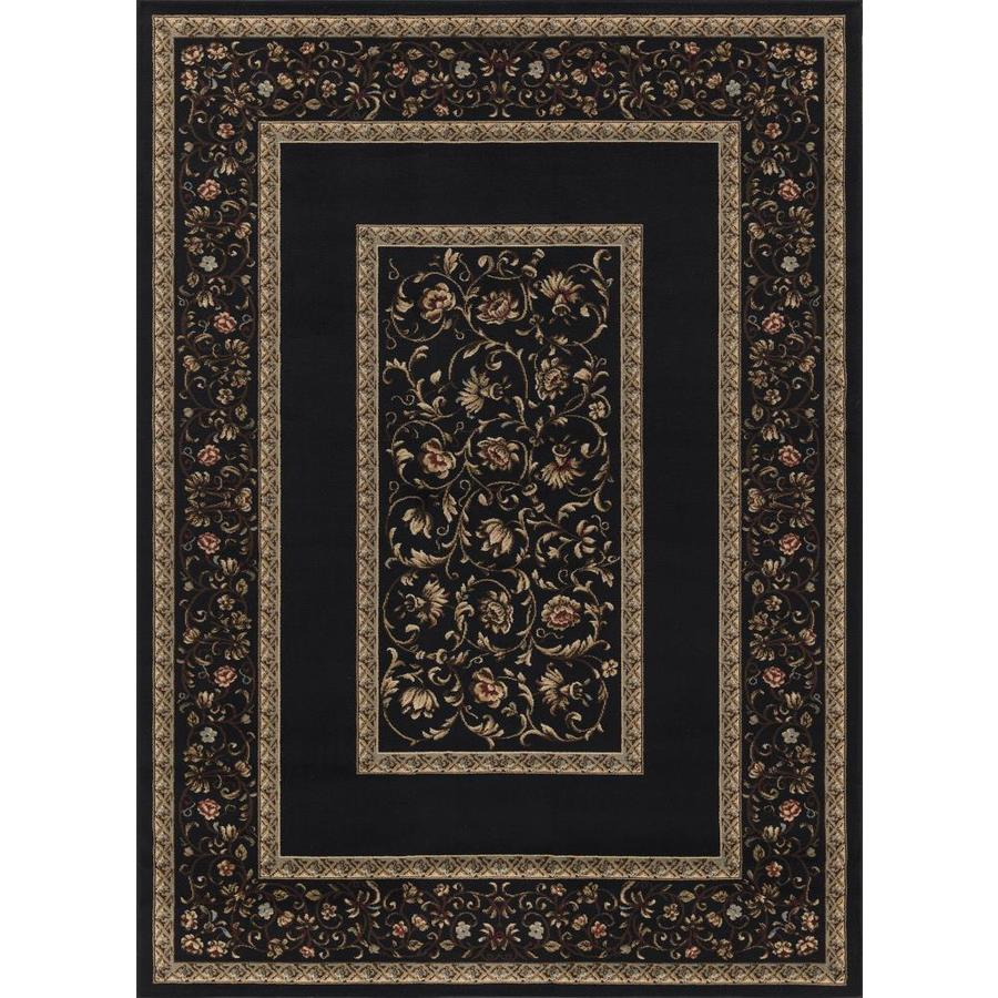 Concord Global Florence Black Rectangular Indoor Woven Oriental Area Rug (Common: 8 x 11; Actual: 94-in W x 130-in L x 7.83-ft Dia)