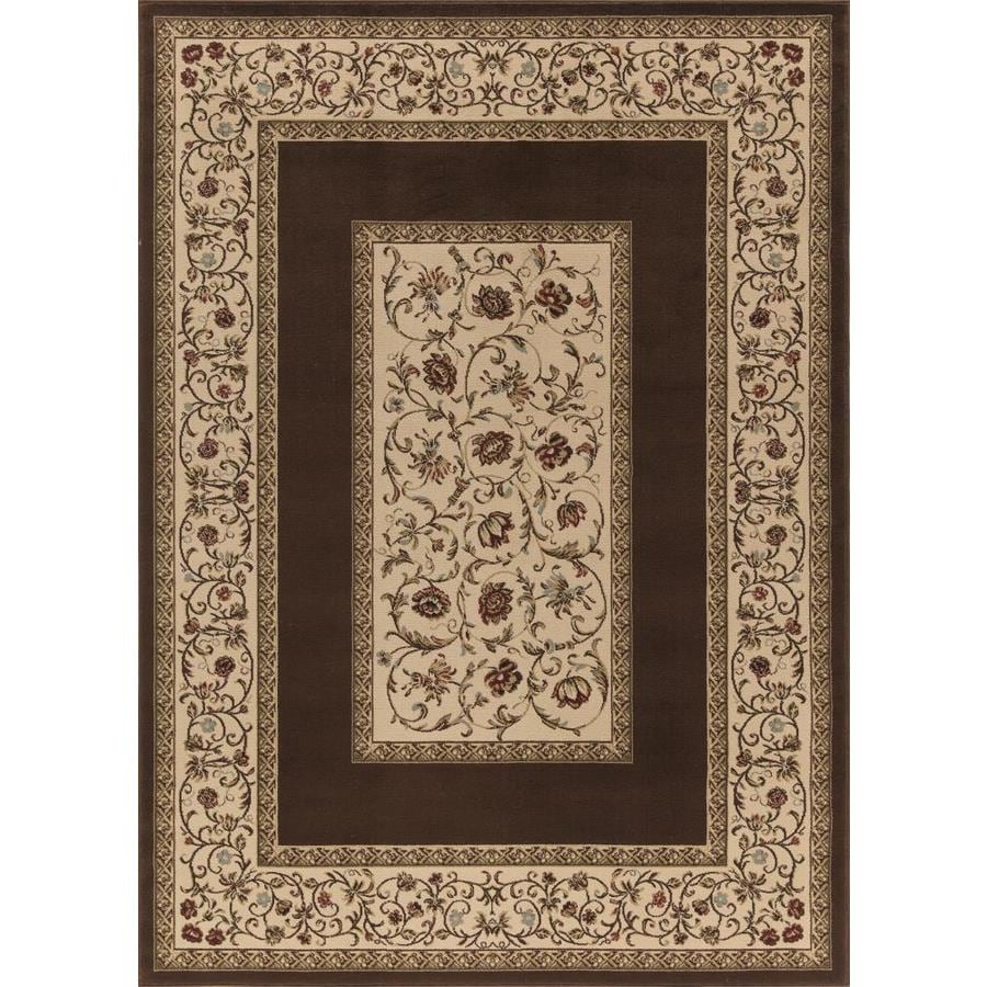 Concord Global Florence Brown Rectangular Indoor Woven Oriental Area Rug (Common: 8 x 11; Actual: 94-in W x 130-in L x 7.83-ft Dia)