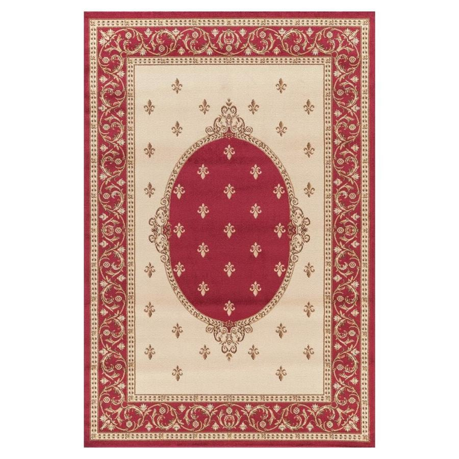 Concord Global Valencia Red Rectangular Indoor Woven Oriental Area Rug (Common: 5 x 8; Actual: 63-in W x 91-in L x 5.25-ft Dia)