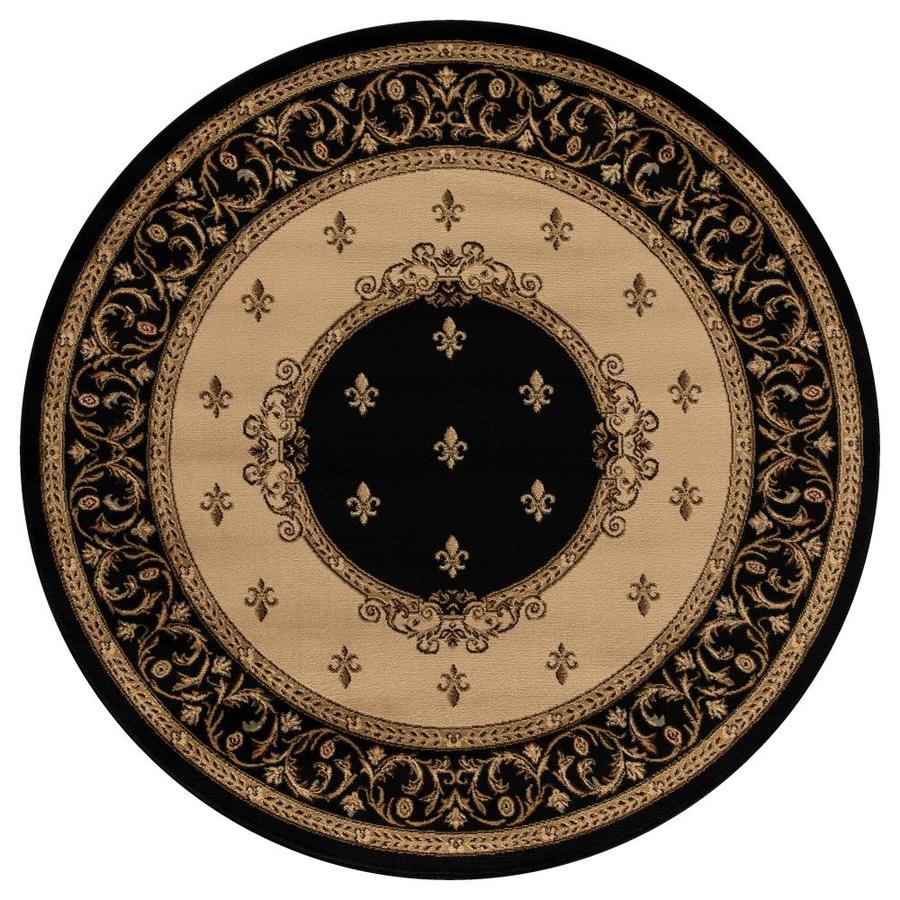 Concord Global Valencia Black Round Indoor Woven Oriental Area Rug (Common: 5 x 5; Actual: 63-in W x 63-in L x 5.25-ft Dia)