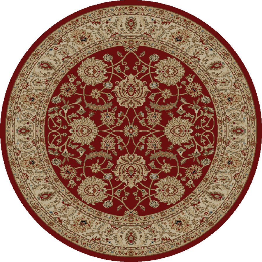 Concord Global Florence Red Round Indoor Woven Oriental Area Rug (Common: 5 x 5; Actual: 63-in W x 63-in L x 5.25-ft Dia)