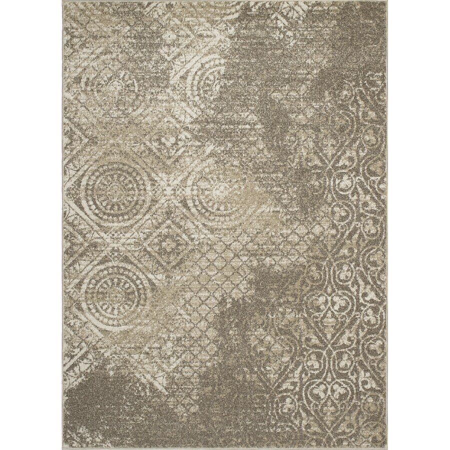 Concord Global Manhattan Ivory Rectangular Indoor Woven Distressed Area Rug (Common: 5 x 7; Actual: 63-in W x 87-in L x 5.25-ft Dia)