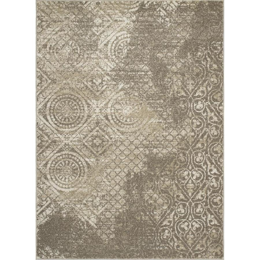 Concord Global Manhattan Ivory Rectangular Indoor Woven Distressed Area Rug (Common: 8 x 11; Actual: 94-in W x 126-in L x 7.83-ft Dia)