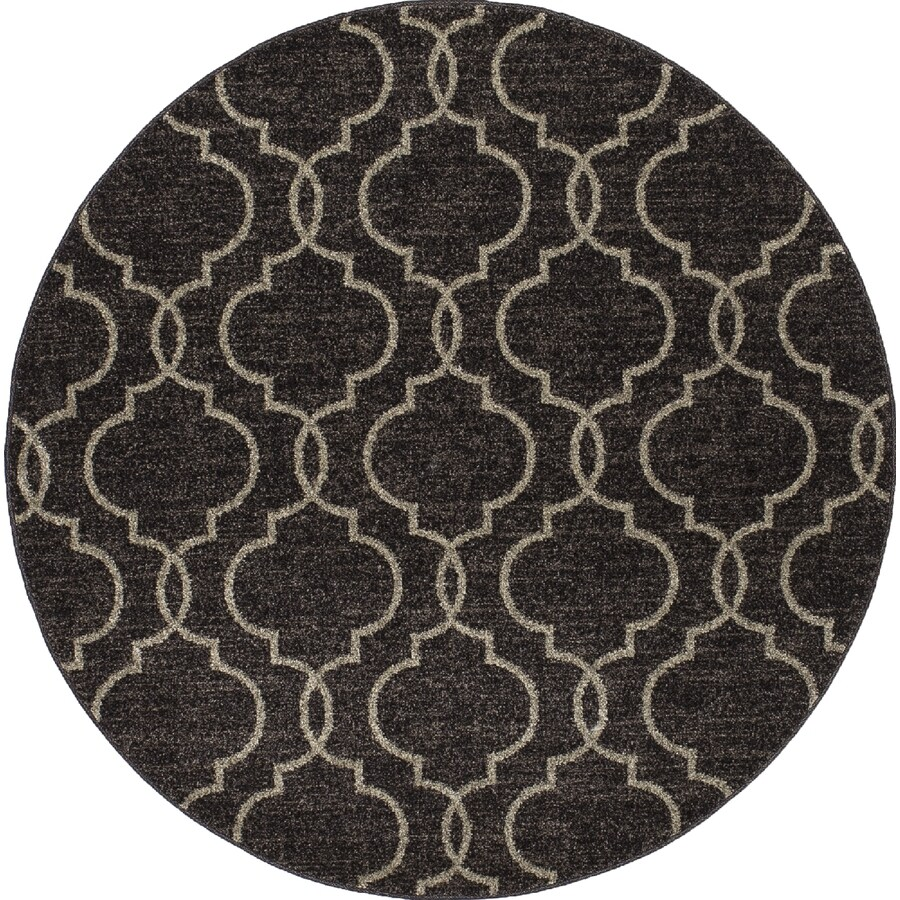 Concord Global Manhattan Brown Round Indoor Woven Area Rug (Common: 8 x 8; Actual: 94-in W x 94-in L x 7.83-ft Dia)