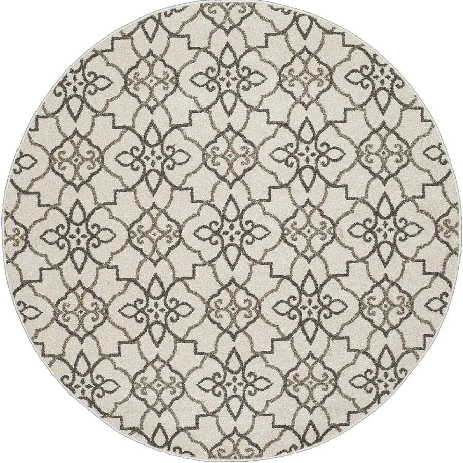 Concord Global Manhattan Gray Round Indoor Woven Area Rug (Common: 5 x 5; Actual: 63-in W x 63-in L x 5.25-ft Dia)