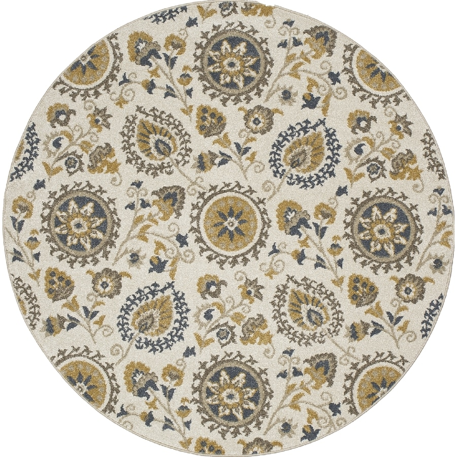 Concord Global Manhattan Ivory Round Indoor Woven Nature Area Rug (Common: 5 x 5; Actual: 63-in W x 63-in L x 5.25-ft Dia)