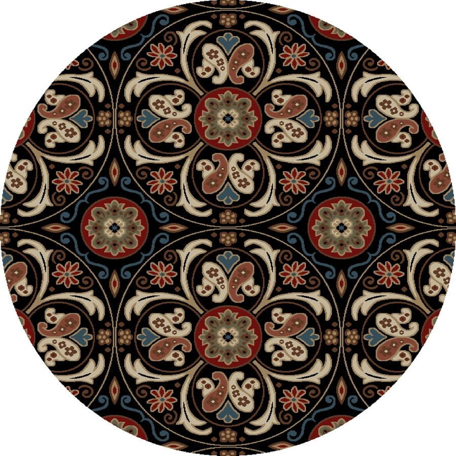 Concord Global Kensington Black Round Indoor Woven Nature Area Rug (Common: 5 x 5; Actual: 63-in W x 63-in L x 5.25-ft Dia)