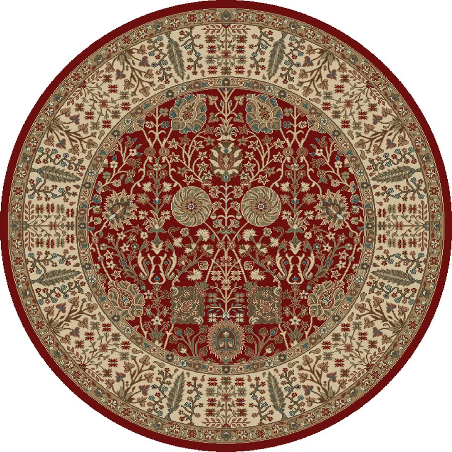 Concord Global Kensington Red Round Indoor Woven Oriental Area Rug (Common: 5 x 5; Actual: 63-in W x 63-in L x 5.25-ft Dia)