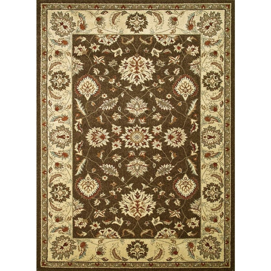 Concord Global Hampton Brown Rectangular Indoor Woven Oriental Area Rug (Common: 5 x 7; Actual: 63-in W x 87-in L x 5.25-ft Dia)