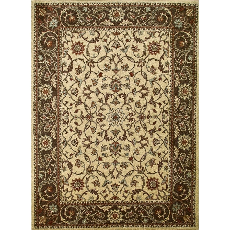 Concord Global Hampton Ivory Rectangular Indoor Woven Oriental Area Rug (Common: 3 x 5; Actual: 39-in W x 55-in L x 3.25-ft Dia)