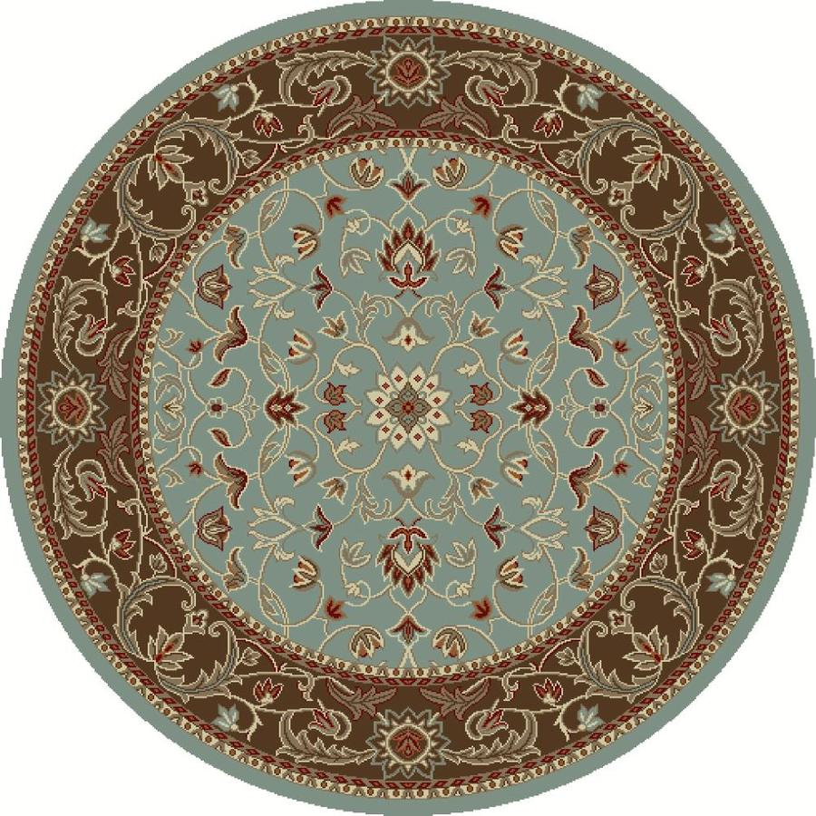 Concord Global Hampton Blue Round Indoor Woven Oriental Area Rug (Common: 5 x 5; Actual: 63-in W x 63-in L x 5.25-ft Dia)