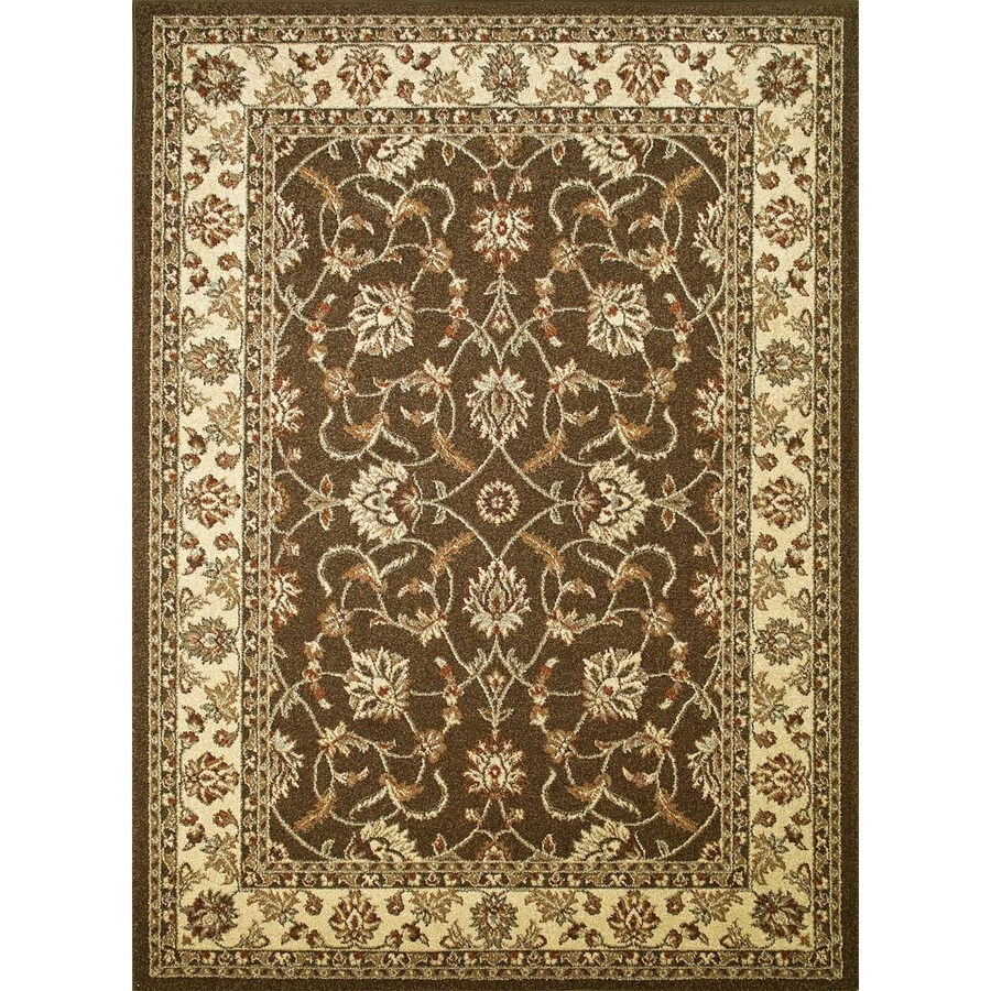 Concord Global Hampton Brown Rectangular Indoor Woven Oriental Area Rug (Common: 3 x 5; Actual: 39-in W x 55-in L x 3.25-ft Dia)