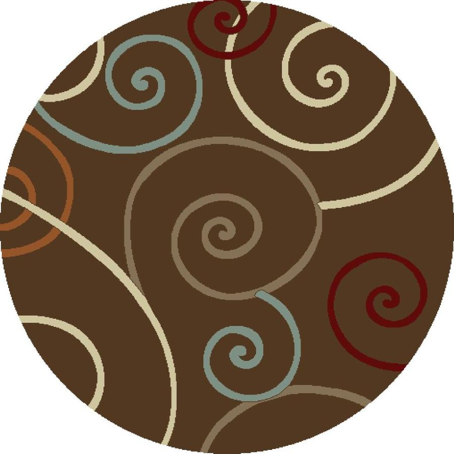 Concord Global Hampton Brown Round Indoor Woven Area Rug (Common: 5 x 5; Actual: 63-in W x 63-in L x 5.25-ft Dia)