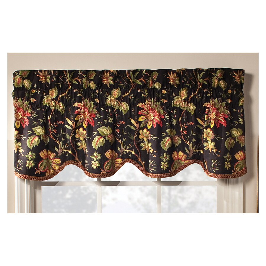 Waverly Home Classics 15-in Noir Cotton Rod Pocket Valance