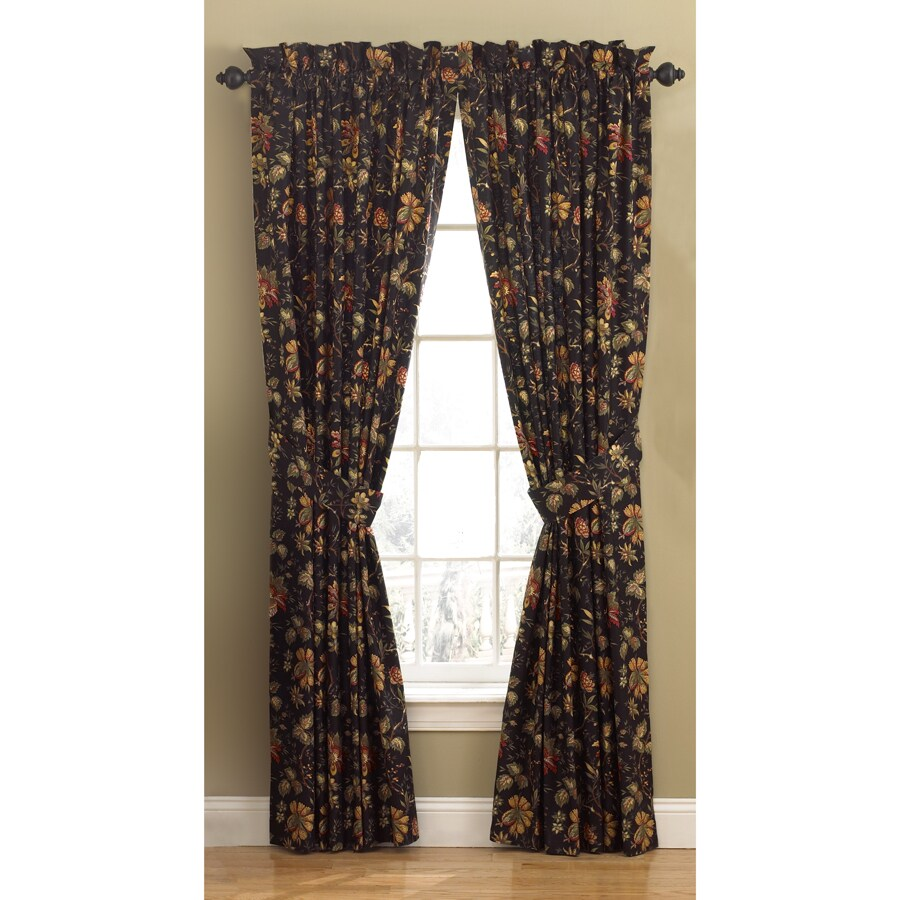 Waverly Felicite 84-in Noir Cotton Back Tab Single Curtain Panel