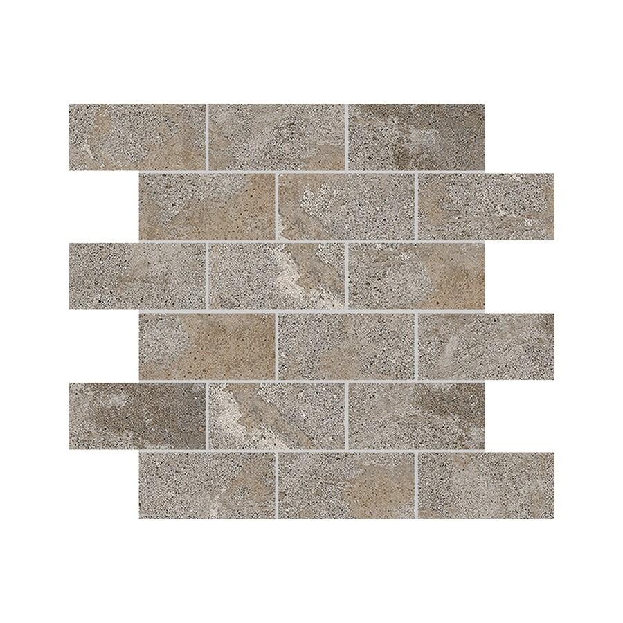 FLOORS 2000 Bridgeport Summer Brick Mosaic Porcelain Floor and Wall Tile (Common: 12-in x 12-in; Actual: 11.81-in x 11.81-in)