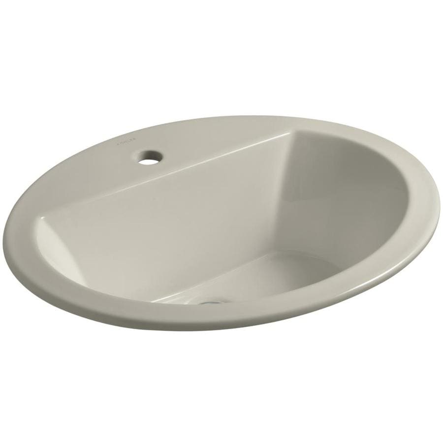 KOHLER Bryant Sandbar Drop-in Oval Bathroom Sink with Overflow
