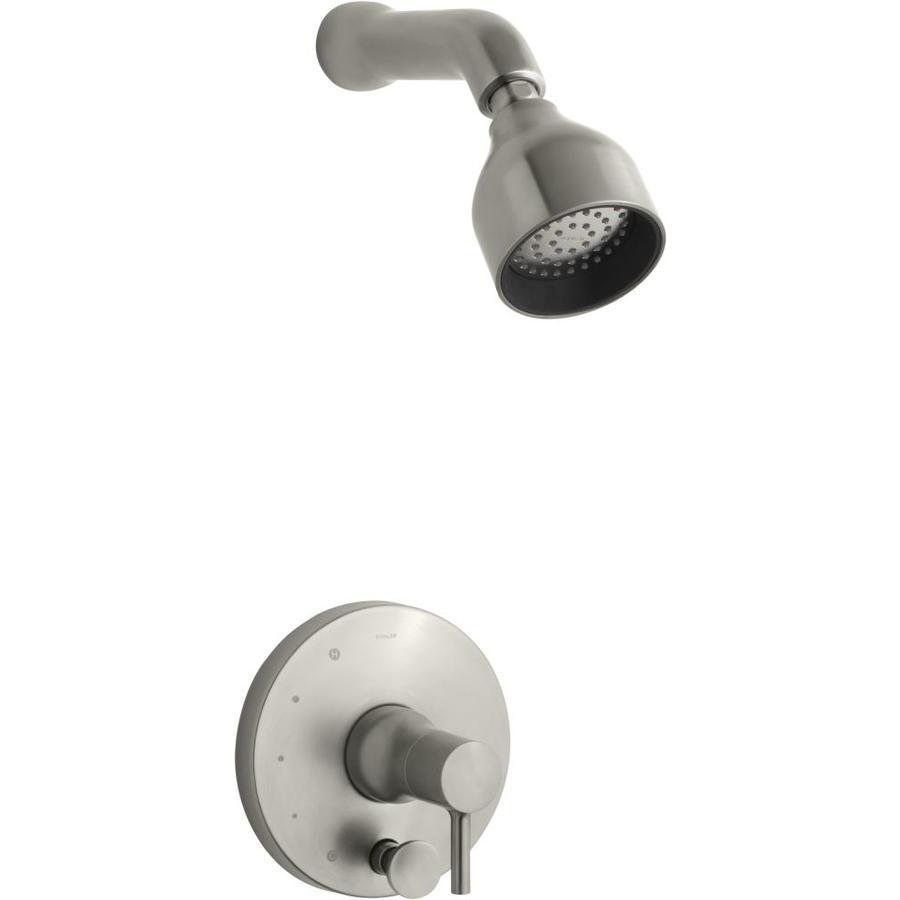 KOHLER Toobi Vibrant Brushed Nickel 1-Handle WaterSense Shower Faucet Trim Kit with Single Function Showerhead