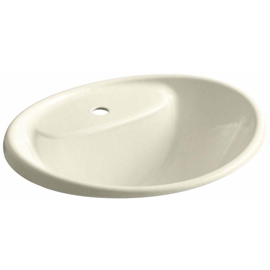 KOHLER Tides Cane Sugar Cast Iron Drop-in Oval Bathroom Sink with Overflow