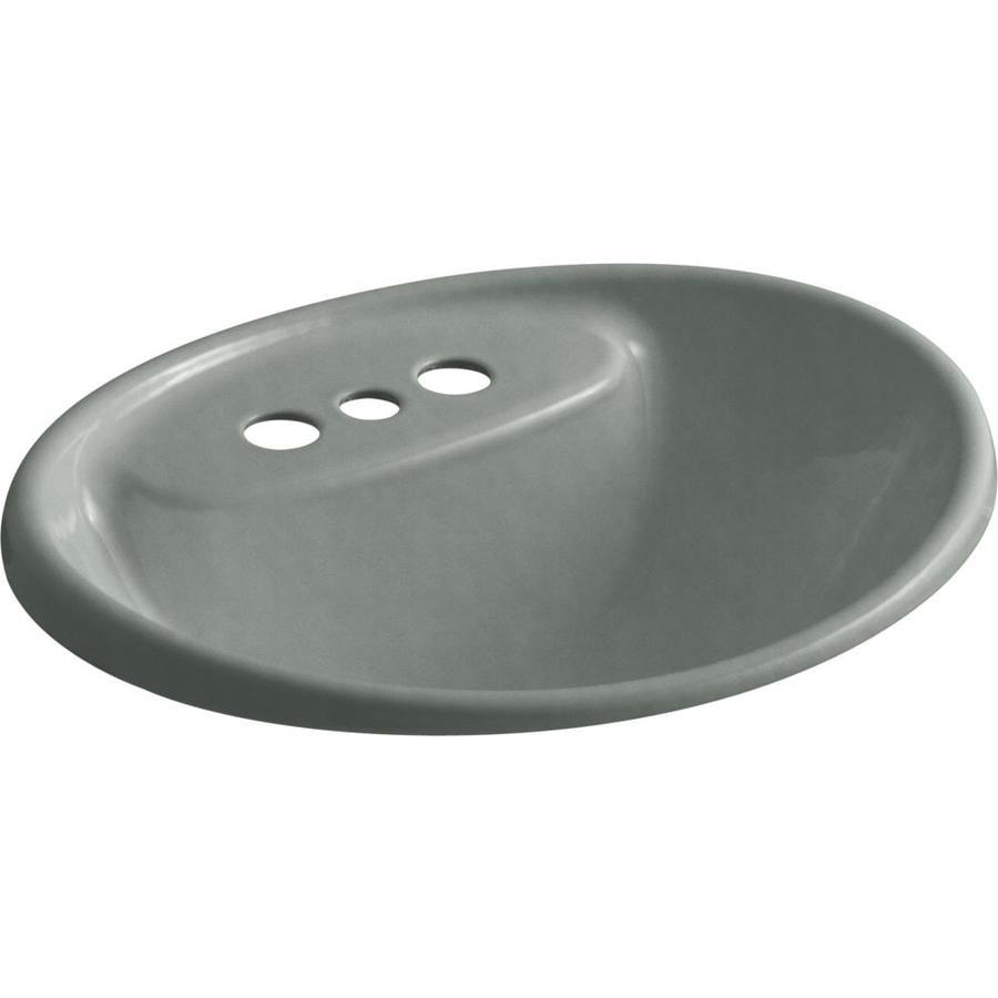 KOHLER Tides Basalt Cast Iron Drop-in Oval Bathroom Sink with Overflow