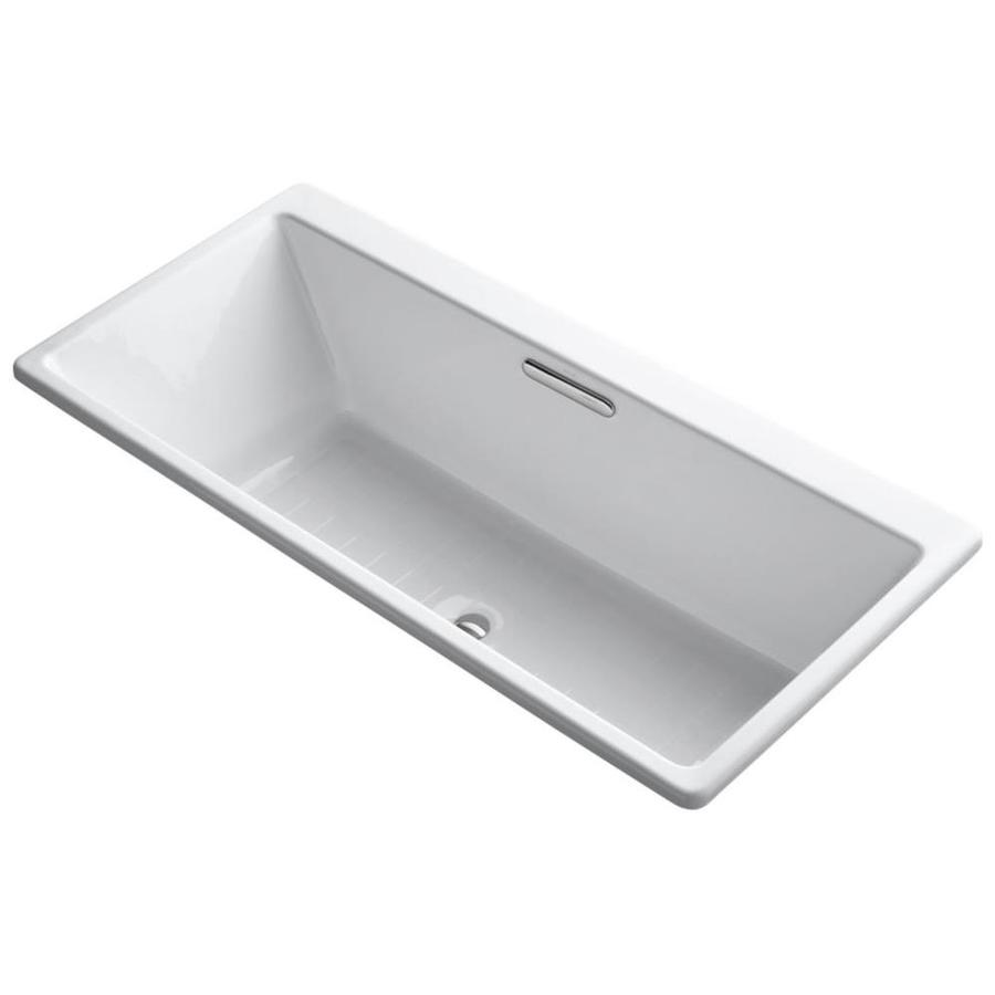 kohler rve white cast iron rectangular drop in bathtub with center