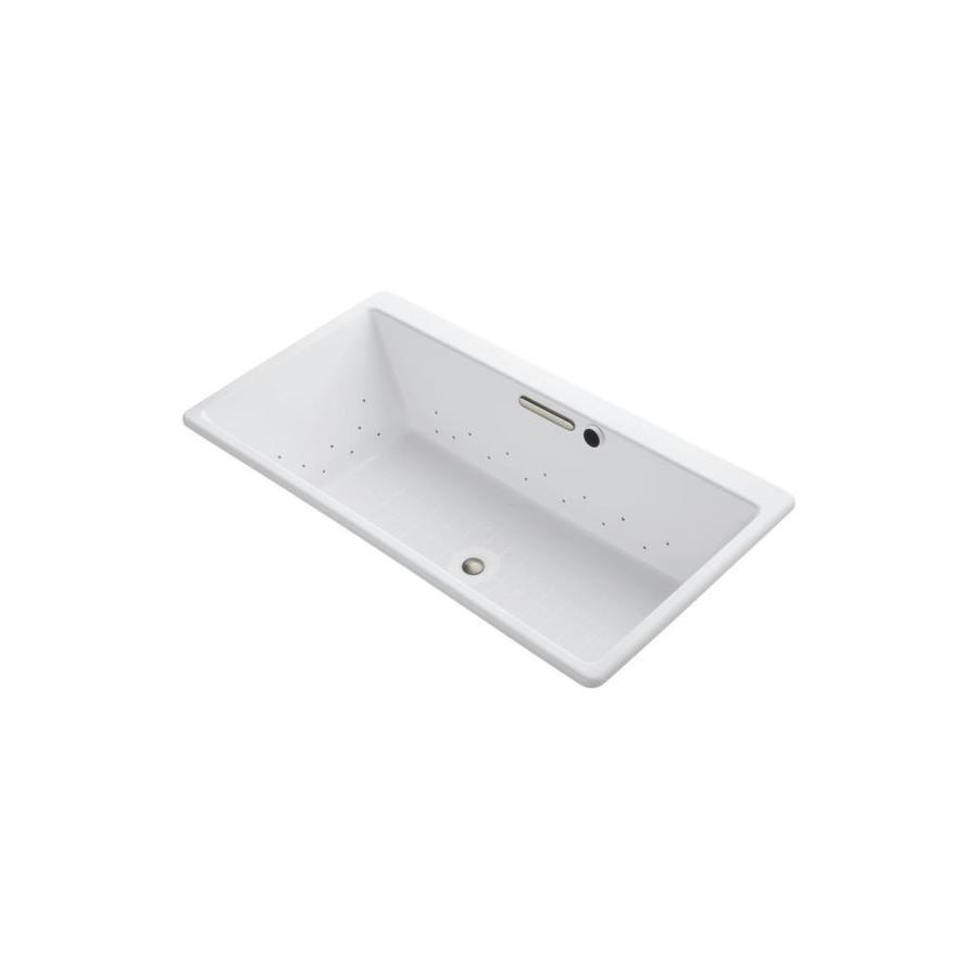 KOHLER Reve 66.9375-in L x 36-in W x 19.0625-in H White Acrylic Rectangular Drop-In Air Bath