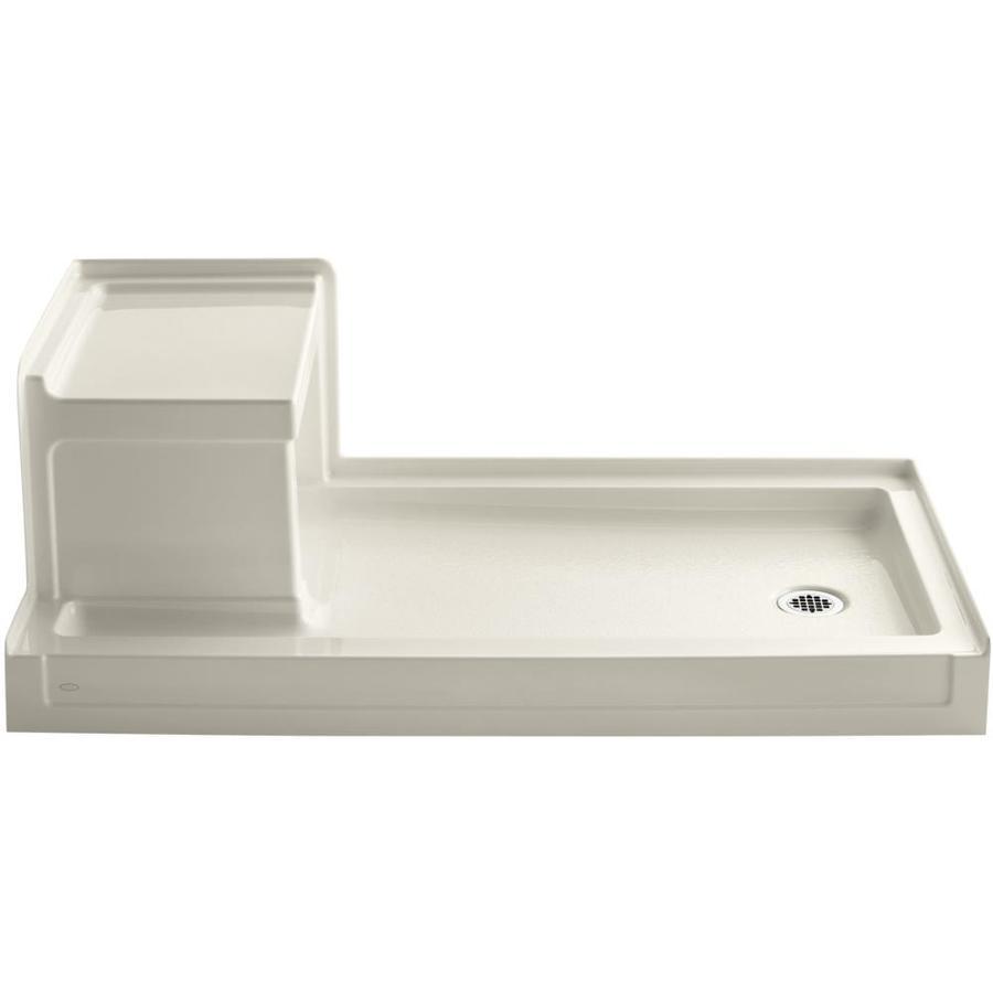 KOHLER Tresham Almond Acrylic Shower Base (Common: 32-in W x 60-in L; Actual: 32-in W x 60-in L)