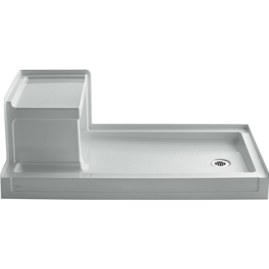 KOHLER Tresham Ice Grey Acrylic Shower Base (Common: 32-in W x 60-in L; Actual: 32-in W x 60-in L)