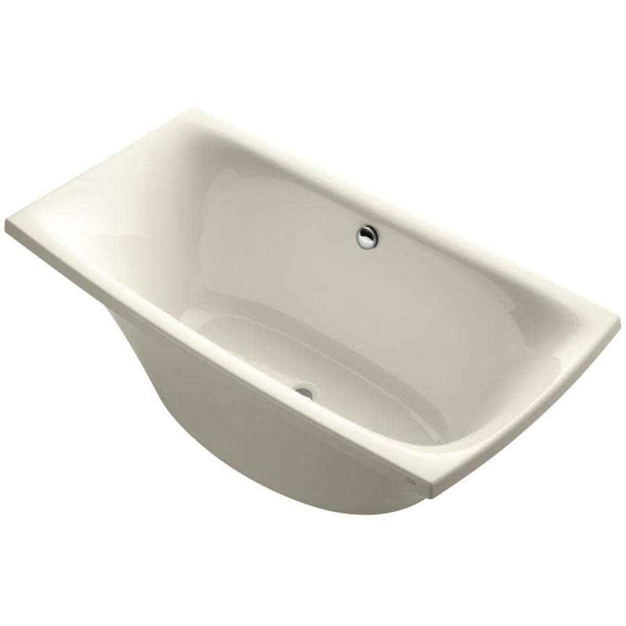 KOHLER Escale Almond Acrylic Rectangular Freestanding Bathtub with Center Drain (Common: 36-in x 72-in; Actual: 24.125-in x 36-in x 72-in)