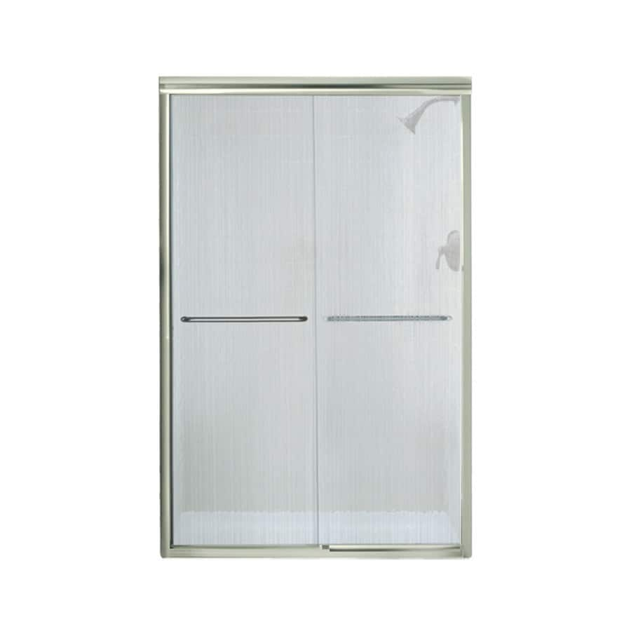 Sterling Finesse 42.625-in to 47.625-in W x 70.0625-in H Brushed Nickel Sliding Shower Door