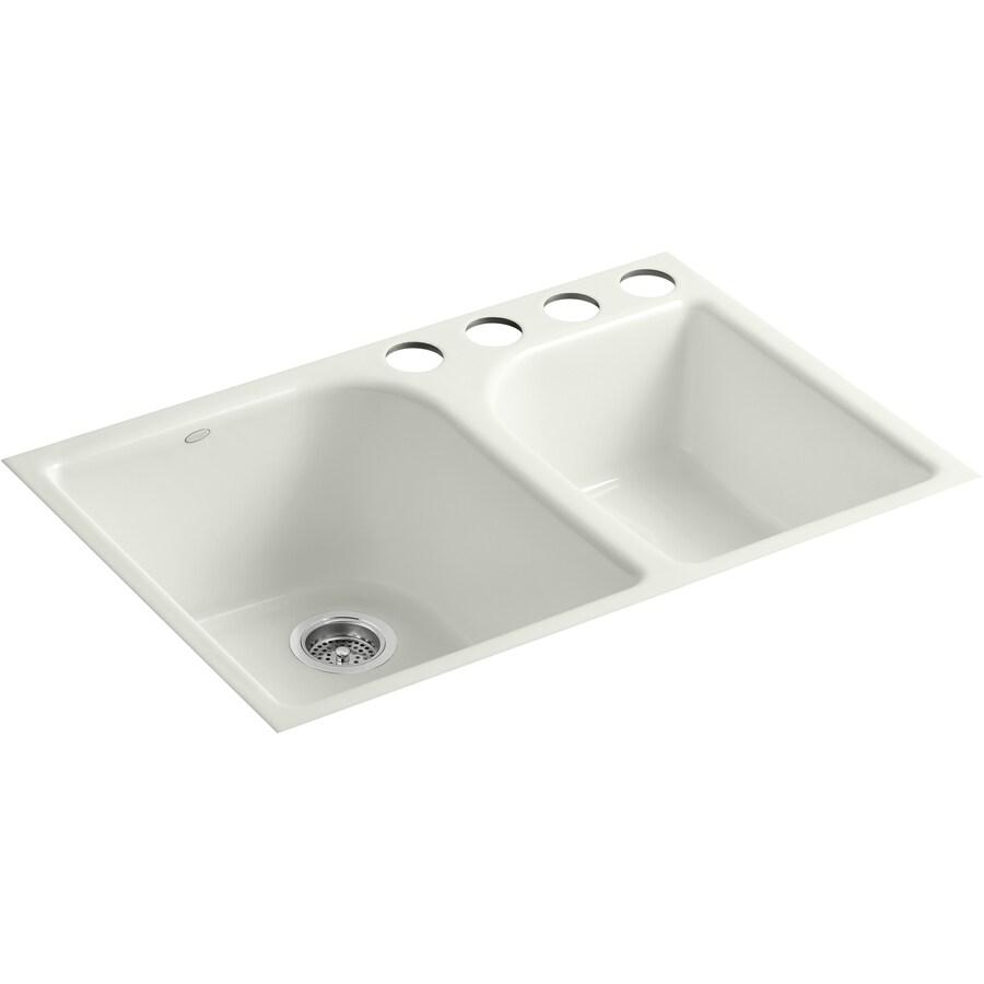 KOHLER 22-in x 33-in Dune Double-Basin Cast Iron Undermount (Customizable)-Hole Residential Kitchen Sink