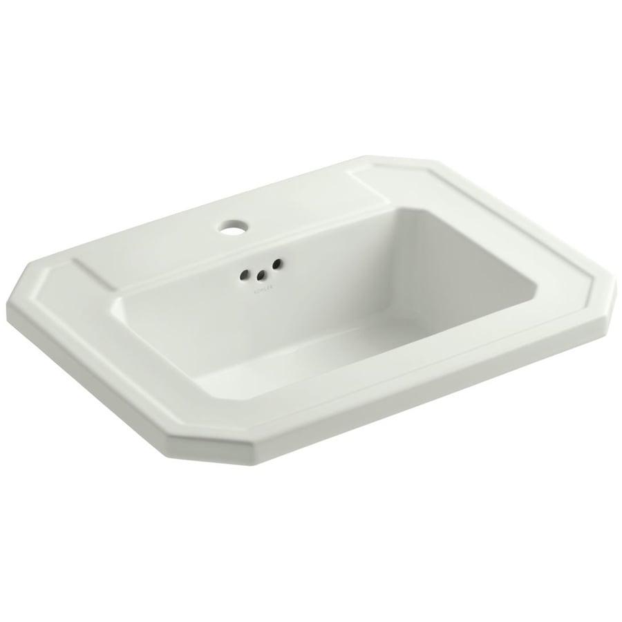 KOHLER Kathryn White Drop-in Rectangular Bathroom Sink with Overflow