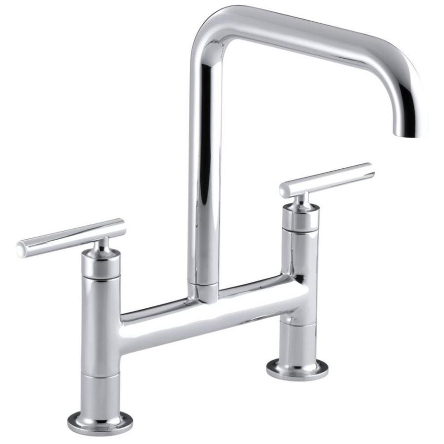 KOHLER Purist Polished Chrome 2-Handle High-Arc Kitchen Faucet