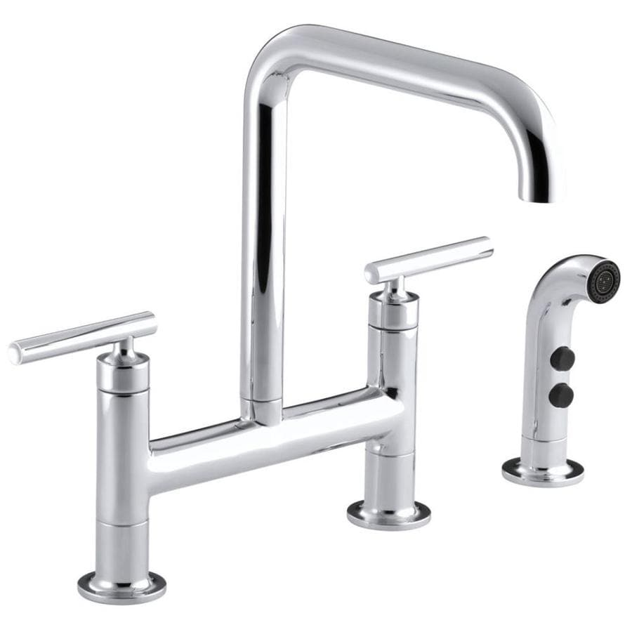 KOHLER Purist Polished Chrome 2-Handle High-Arc Kitchen Faucet with Side Spray