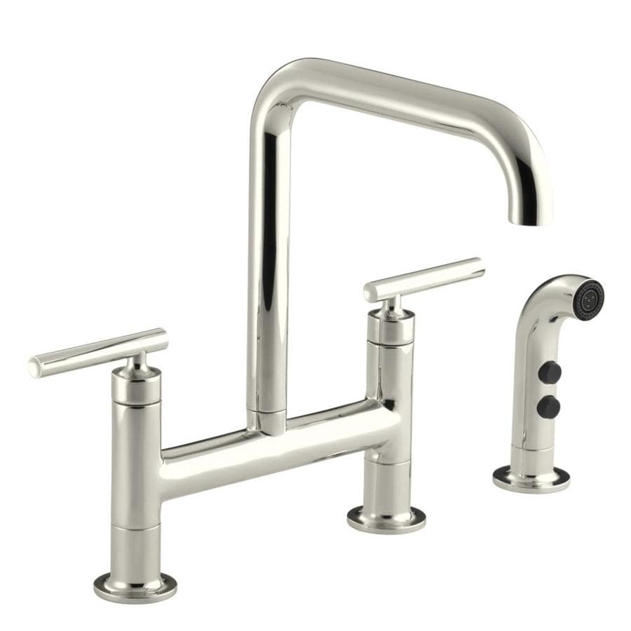 KOHLER Purist Vibrant Polished Nickel 2-Handle High-Arc Kitchen Faucet with Side Spray