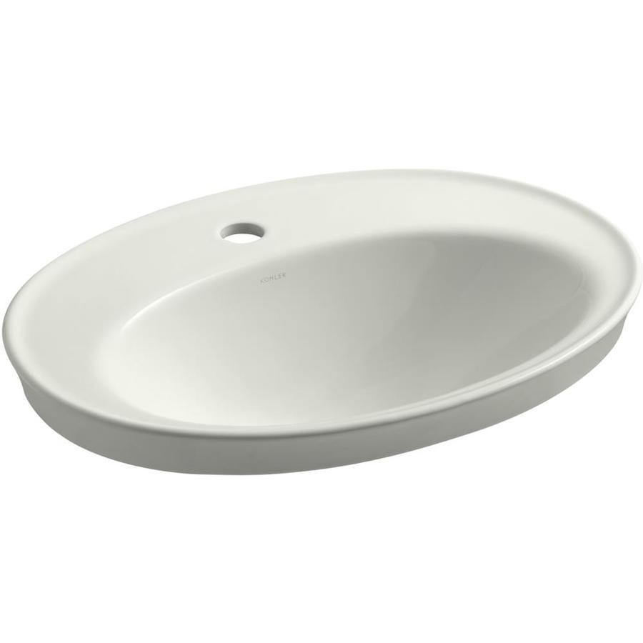 KOHLER Serif Dune Drop-in Oval Bathroom Sink with Overflow