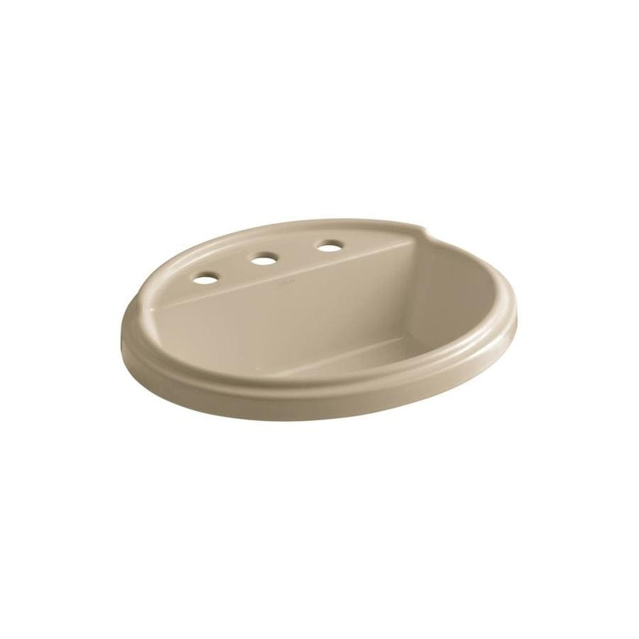 KOHLER Tresham Mexican Sand Drop-in Oval Bathroom Sink with Overflow