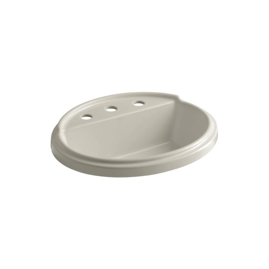 KOHLER Tresham Sandbar Drop-in Oval Bathroom Sink with Overflow