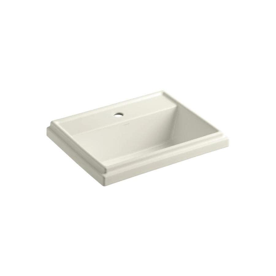 KOHLER Tresham Biscuit Drop-in Rectangular Bathroom Sink with Overflow