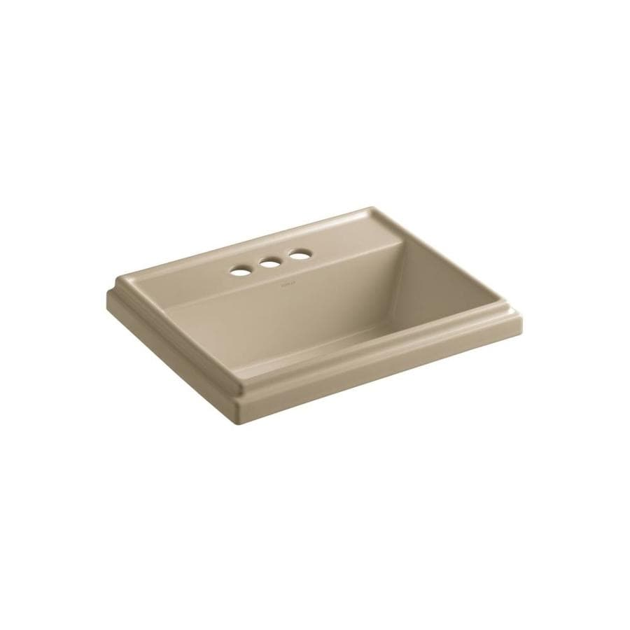 KOHLER Tresham Mexican Sand Drop-in Rectangular Bathroom Sink with Overflow