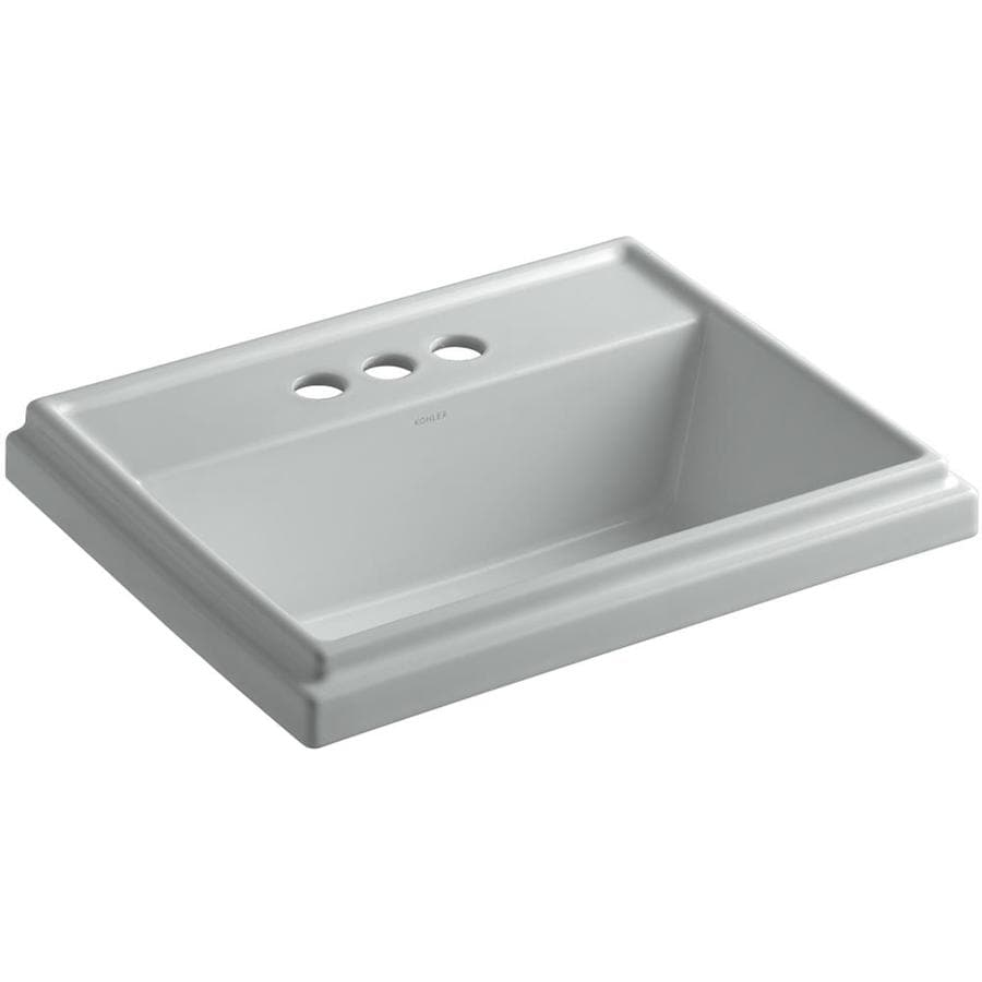 KOHLER Tresham Ice Grey Drop-in Rectangular Bathroom Sink with Overflow