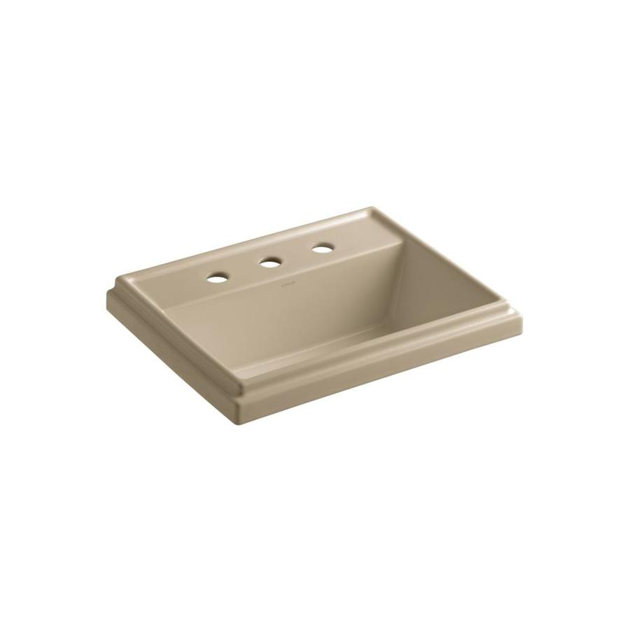 KOHLER Tresham Mexican Sand Drop-in Rectangular Bathroom Sink with Overflow