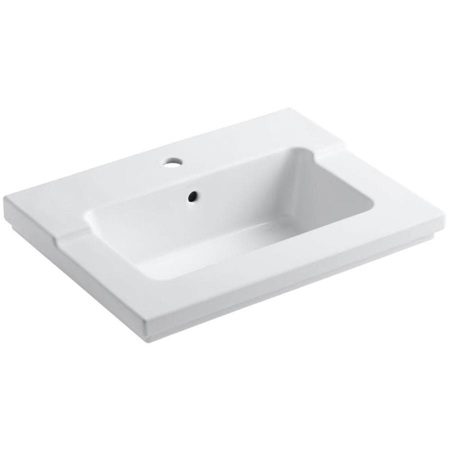 KOHLER Tresham White Vitreous China Integral Bathroom Vanity Top (Common: 20-in x 25-in; Actual: 19.0625-in x 25.4375-in)