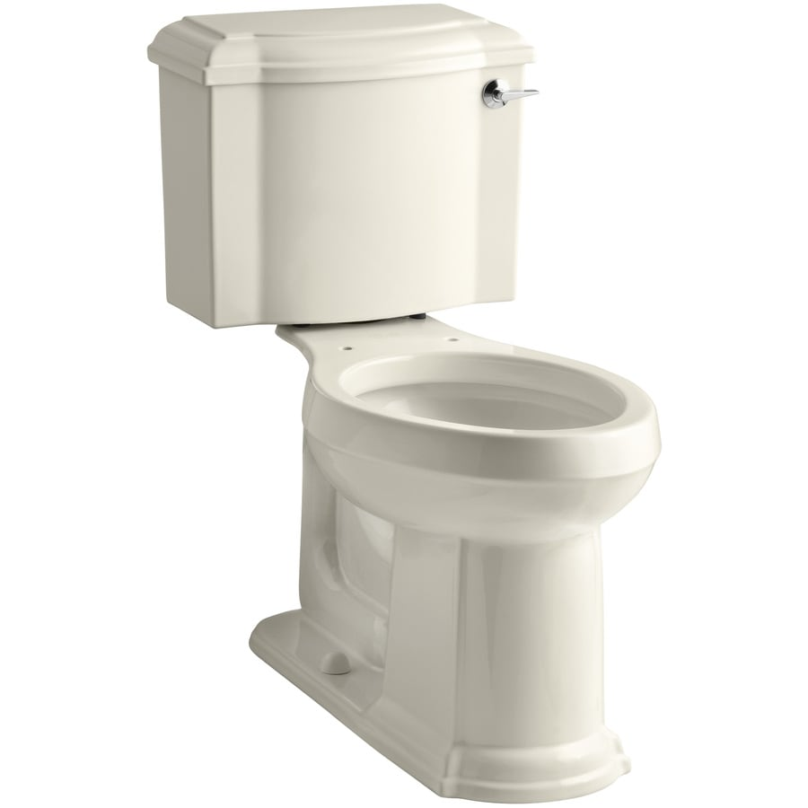 KOHLER Devonshire Almond 1.28-GPF (4.85-LPF) 12 Rough-In WaterSense Elongated 2-Piece Chair Height Toilet